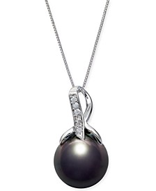 """Cultured Baroque Black Tahitian Pearl (12mm) & Diamond (1/20 ct. t.w.) 18"""" Pendant Necklace in 14k White Gold"""