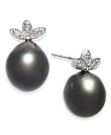 Cultured Black Tahitian Pearl (9mm) & Diamond (1/10 ct. t.w.) Stud Earrings in 14k White Gold