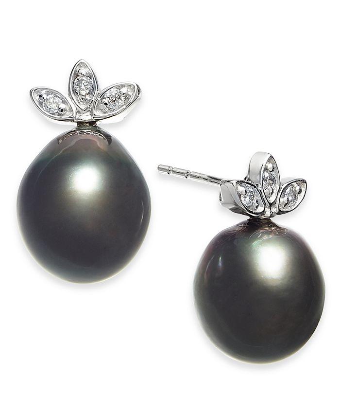 Macy's - Cultured Black Tahitian Pearl (9mm) & Diamond (1/10 ct. t.w.) Stud Earrings in 14k White Gold