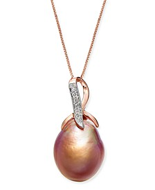 "Cultured Pink Baroque Freshwater Pearl (12mm) & Diamond (1/20 ct. t.w.) 18"" Pendant Necklace in 14k Rose Gold"