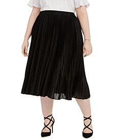 Michael Michael Kors Plus Size Foil Animal-Print Pleated Skirt