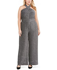 Plus Size Metallic Crisscross Halter Jumpsuit