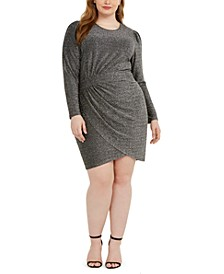 Plus Size Metallic Side-Ruched Dress