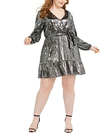 Plus Size Mirror Dot Crossover Dress