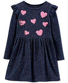 Toddler Girls Sequin-Hearts Jersey Dress