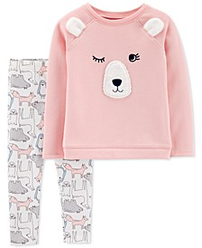 Toddler Girls 2-Pc. Fleece Bear Top & Printed Leggings Set