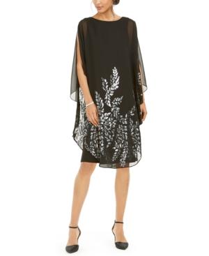 1920s Evening Dresses & Formal Gowns Xscape Embellished Cape-Overlay Dress $219.00 AT vintagedancer.com