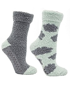 Women's Soft Fuzzy Cloud Slipper Socks, 2 Pairs