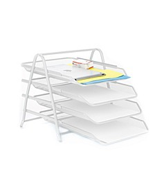4 Tier Mesh Paper File Tray, Desk Organizer with 4 Sliding Trays