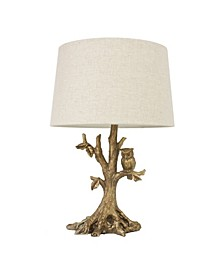 Decor Therapy Textured Leaf Owl Lamp