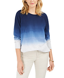 Style & Co Petite Cotton Ombré Sweatshirt, Created For Macy's