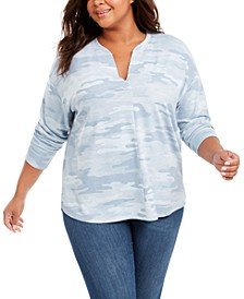 Plus Size Long-Sleeve Camouflage Print Shirt, Created For Macy's