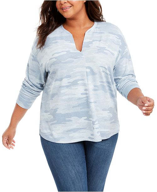 Style & Co Plus Size Long-Sleeve Camouflage Print Shirt, Created for Macy's
