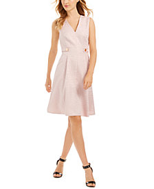 Anne Klein Croc-Embossed Fit & Flare Dress