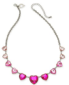 """Gold-Tone Crystal Heart Statement Necklace, 18"""" + 3"""" extender, Created For Macy's"""