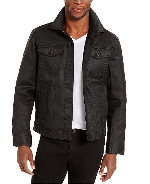 INC International Concepts INC Men's Regular-Fit Coated Stretch Denim Trucker Jacket, Created For Macy's