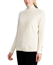 Contrast-Tab Turtleneck Sweater