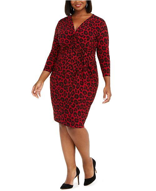 Anne Klein Plus Size Twist-Front Animal Print Dress