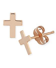 Flat Cross Stud Earrings in 14k White, Yellow or Rose Gold
