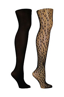 Women's 2 Pack Leopard and Solid Opaque Tights, Online Only