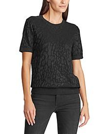 Shimmer Leopard-Print Short Sleeve Sweater