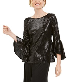 Petite Sequined Bell-Sleeve Top