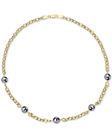 "Cultured Tahitian Pearl (8mm) 18"" Collar Necklace in 18k Gold-Plated Sterling Silver"