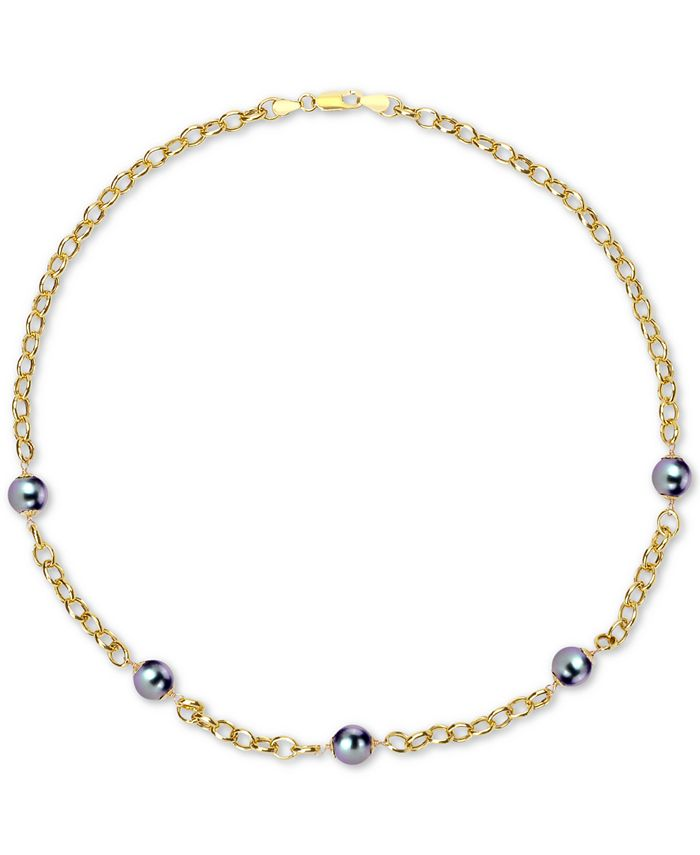 """Macy's - Cultured Tahitian Pearl (8mm) 18"""" Collar Necklace in 18k Gold-Plated Sterling Silver"""