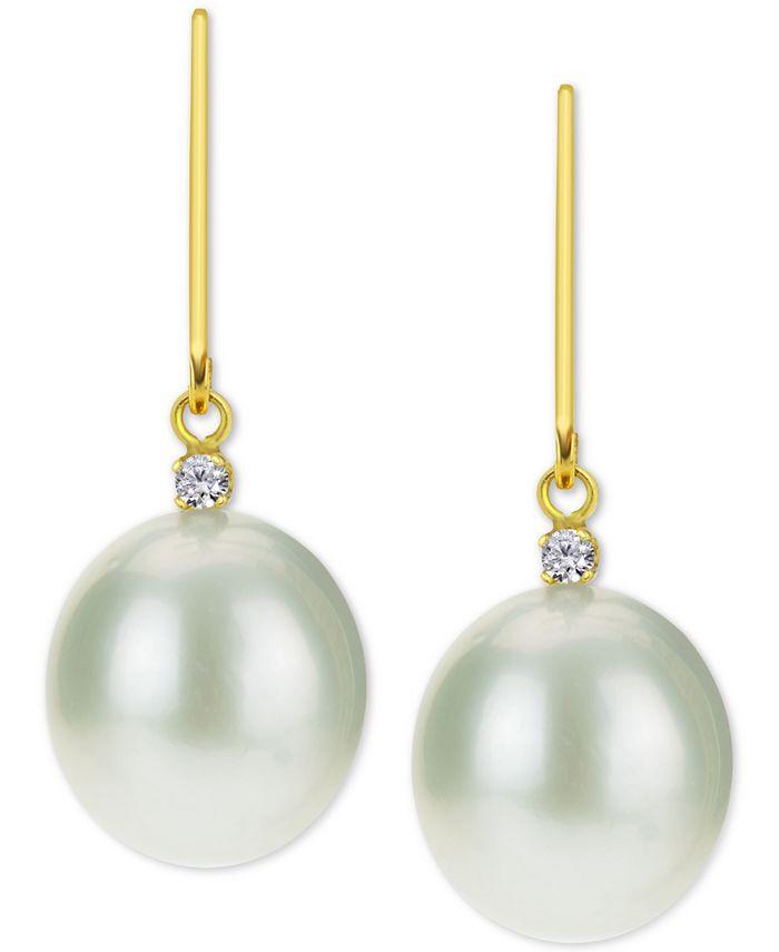 Macy's - Cultured Baroque Freshwater Pearl (12mm) & Diamond (1/20 ct. t.w.) Drop Earrings in 14k Gold