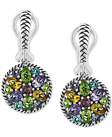 EFFY® Multi-Gemstone Cluster Drop Earrings (3-7/8 ct. t.w.) in Sterling Silver