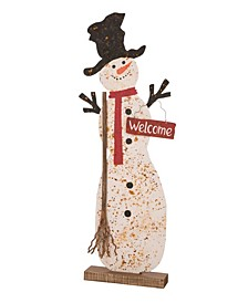 """36.22"""" H Christmas Rusty Metal Snowman Standing Porch Sign"""