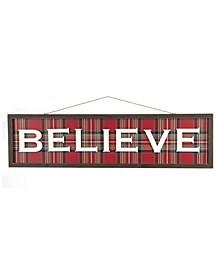 """36"""" L Wooden Believe Wall Decor"""