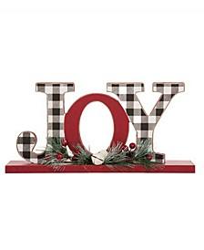 "11.42"" L Christmas Wooden Plaid Joy Table Decor"