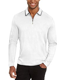 I.N.C. Men's Regular-Fit 1/4-Zip Polo Shirt with Faux-Leather Trim, Created for Macy's