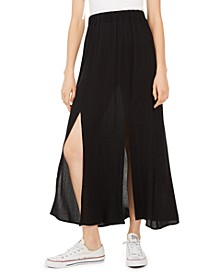 Juniors' Solid Double-Slit Maxi Skirt