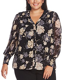 Plus Size Floral Print Button-Down Blouse
