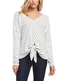 Tie-Front Striped Top