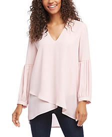 Bishop Sleeve Crossover Top