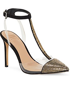 INC Women's Kaylona Gold Cap-Toe T-Strap Pumps, Created for Macy's