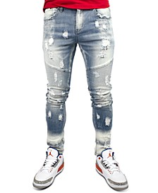 Men's Distressed Moto Jeans