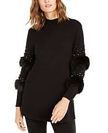 Embellished Faux-Fur-Trim Sweater, Created For Macy's