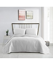 Tim Plaid Matelasse 3PC Full/Queen Quilt Set