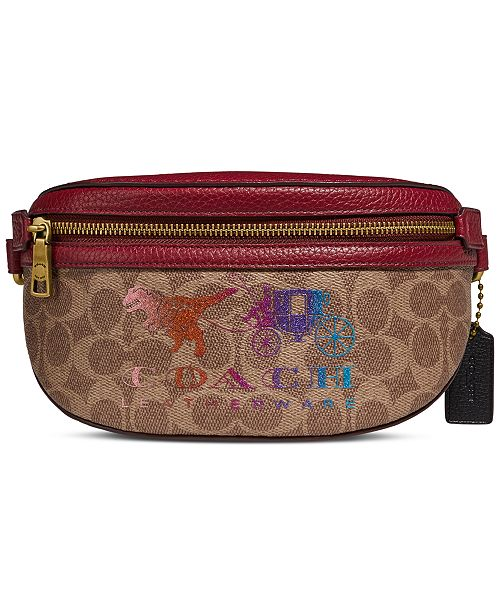 COACH Coated Canvas Signature Rexy And Carriage Belt Bag, Created For Macy's