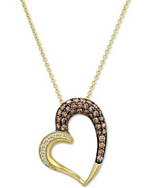 "Chocolatier® Diamond Heart 18"" Pendant Necklace (3/4 ct. t.w.) in 14k Gold"
