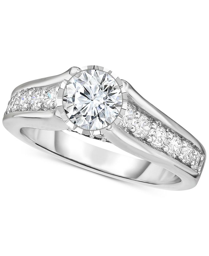 Macy's - Diamond Cathedral Engagement Ring (1-1/2 ct. t.w.) in 14k White Gold