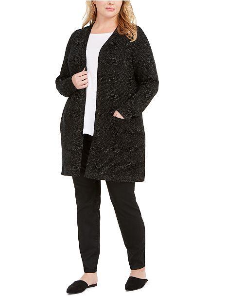 Eileen Fisher Plus Size Metallic Open Cardigan