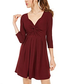 Juniors' Long-Sleeve Twist-Front Dress