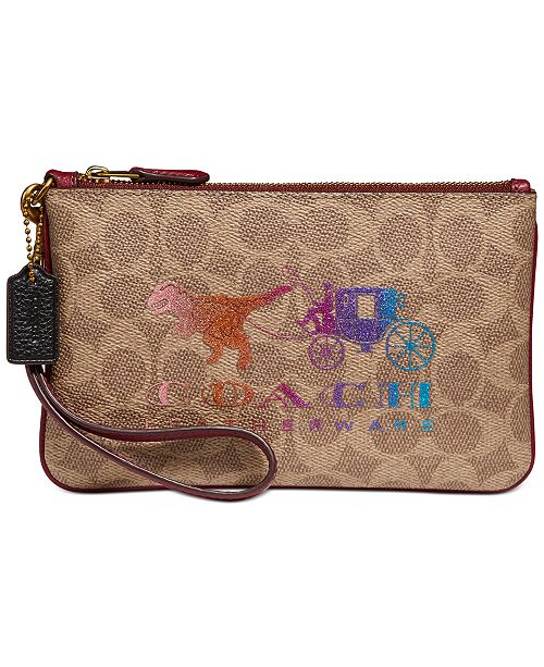 COACH Signature Rexy and Carriage Wristlet