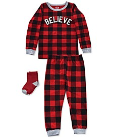 Baby & Toddler Boys 3-Pc. Buffalo Check-Print Believe Pajamas & Socks Set