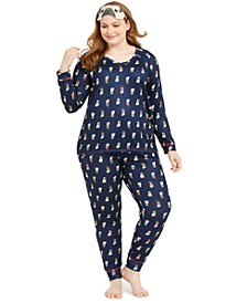 Plus Size 3-Pc. Knit Pajamas & Sleep Mask Set, Created For Macy's